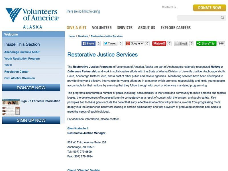 The Restorative Justice Program of Volunteers of America – Alaska