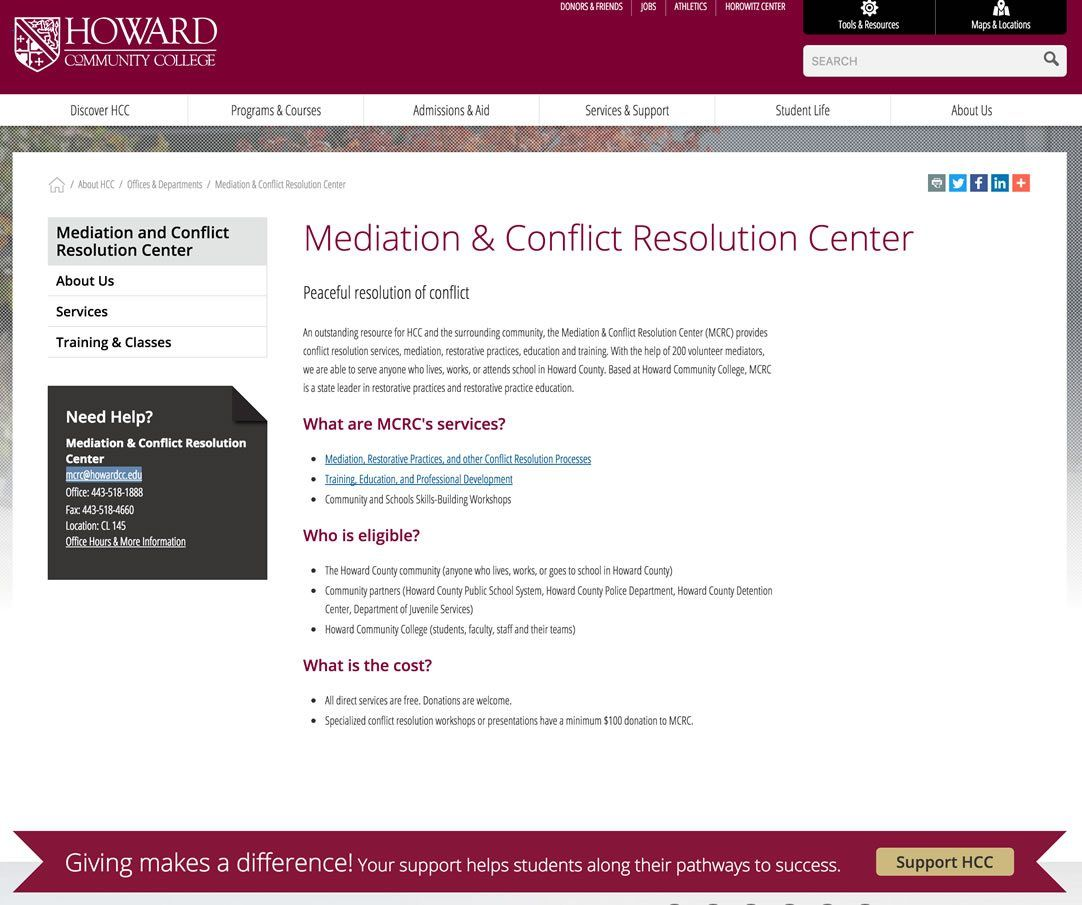 Mediation & Conflict Resolution Center at Howard Community College