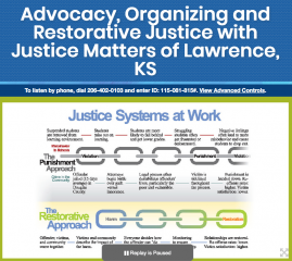 Advocacy, Organizing and Restorative Justice with Justice Matters of Lawrence, KS